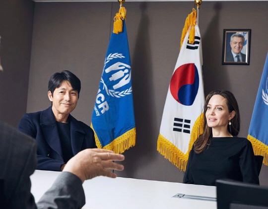 정우성·안젤리나 졸리, 한국서 만났다…유엔난민기구서 투 샷